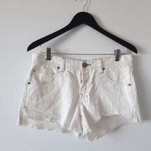 FREE PEOPLE Button Fly Cut Off Distressed Shorts
